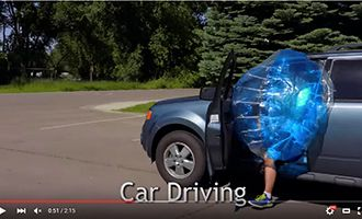 9-3 inflatable bubble ball with car driving
