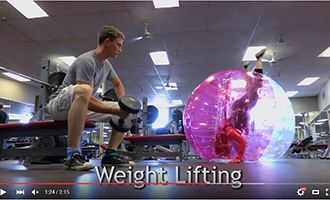 15.inflatable human bubble with weight lifting