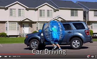 9-2 inflatable bubble ball with car driving