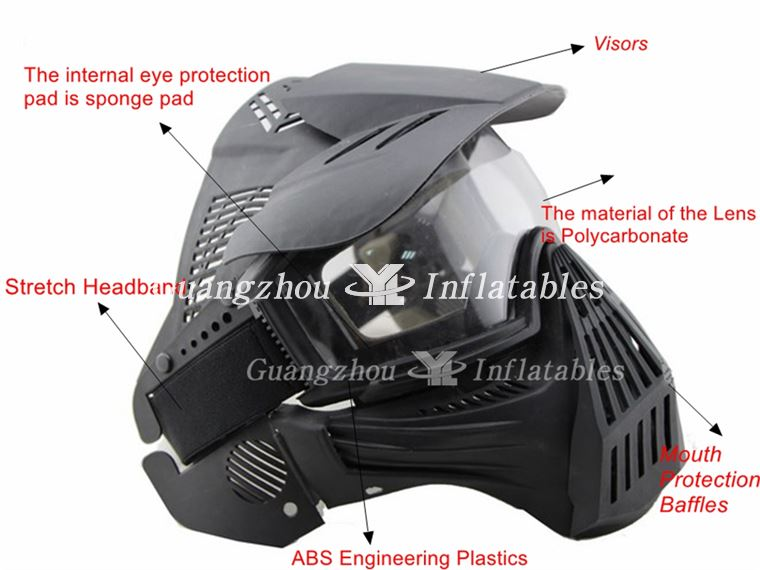 Inflatable Paintball Full Face Lens Mask Details