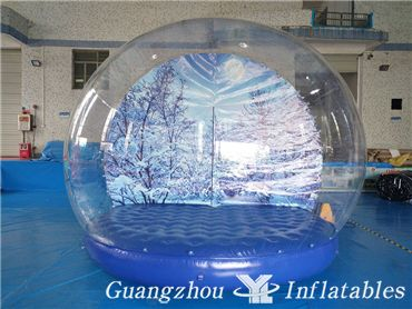 Life Size Blue Background Snow Globe Clear Inflatable Ball for Christmas Show