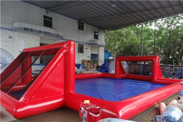 Red inflatable soap football field, inflatable water soccer pitch