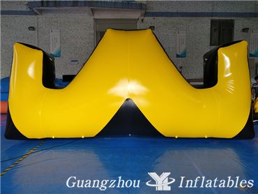 W Shape Yellow Inflatable Paintball Bunker, Paintball Obstacle Game Manufacturer